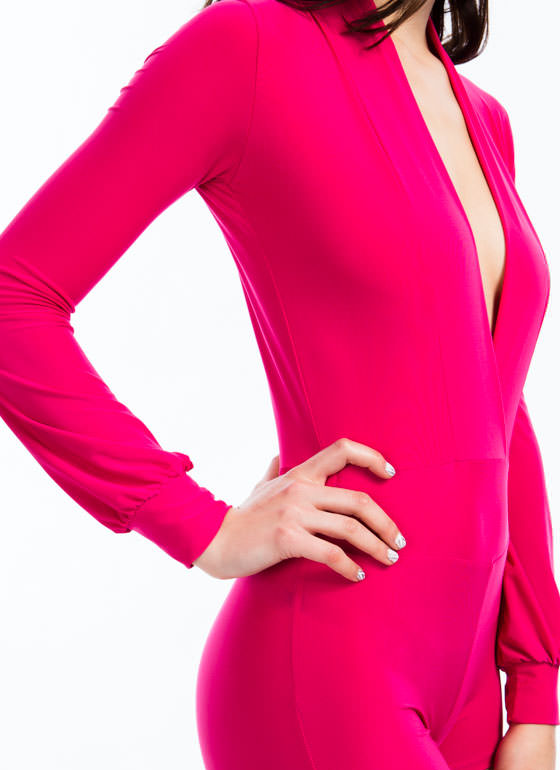 Take The Plunge Shiny Romper FUCHSIA