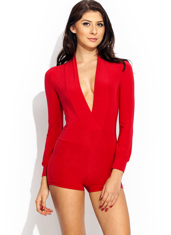 Take The Plunge Shiny Romper RED