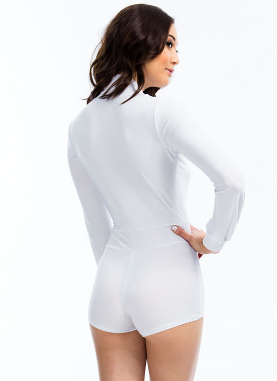 Take The Plunge Shiny Romper WHITE