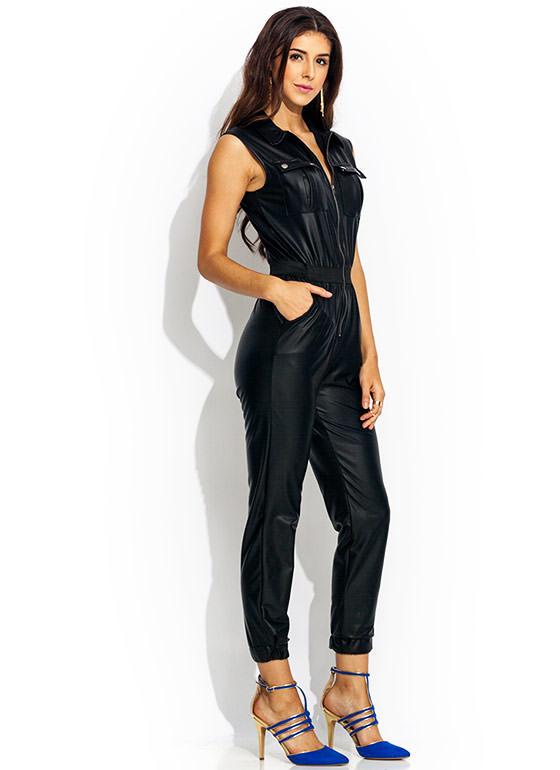 Makes Me Slick Moto Jumpsuit BLACK