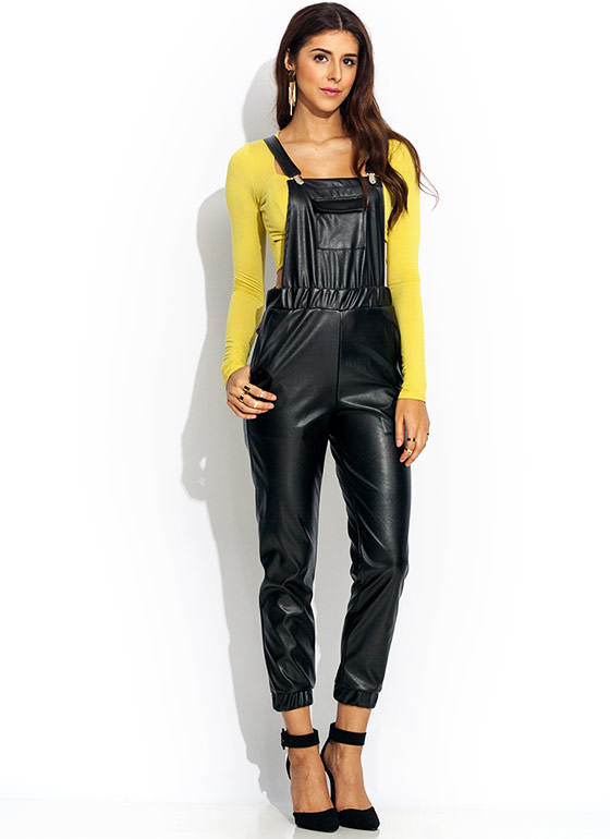 So Slick Faux Leather Overalls BLACK