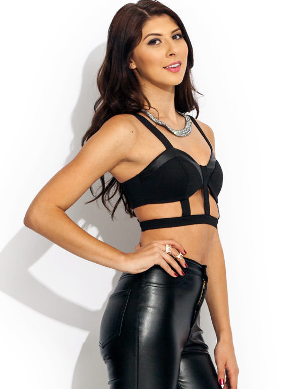 Caged Cropped Tank BLACK