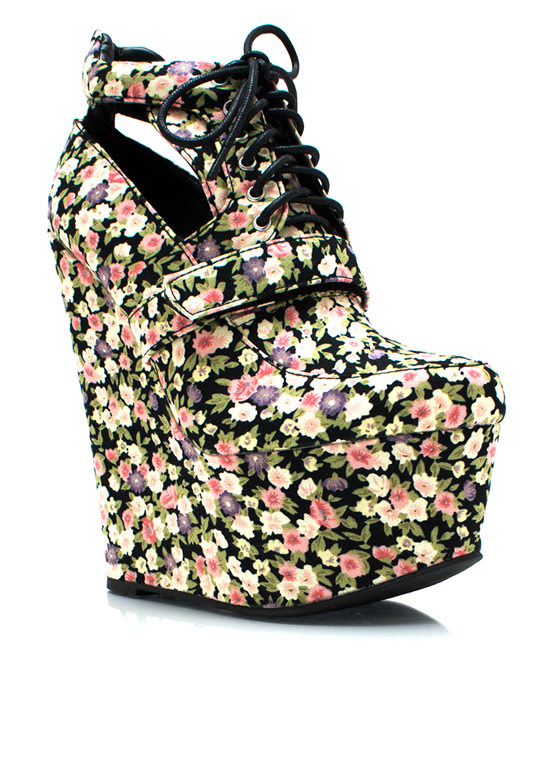 Garden Party Wedge Booties PINKBLACK