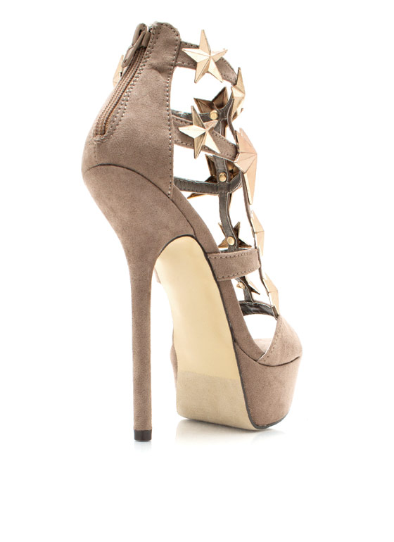 Starry Faux Suede Heels TAUPE