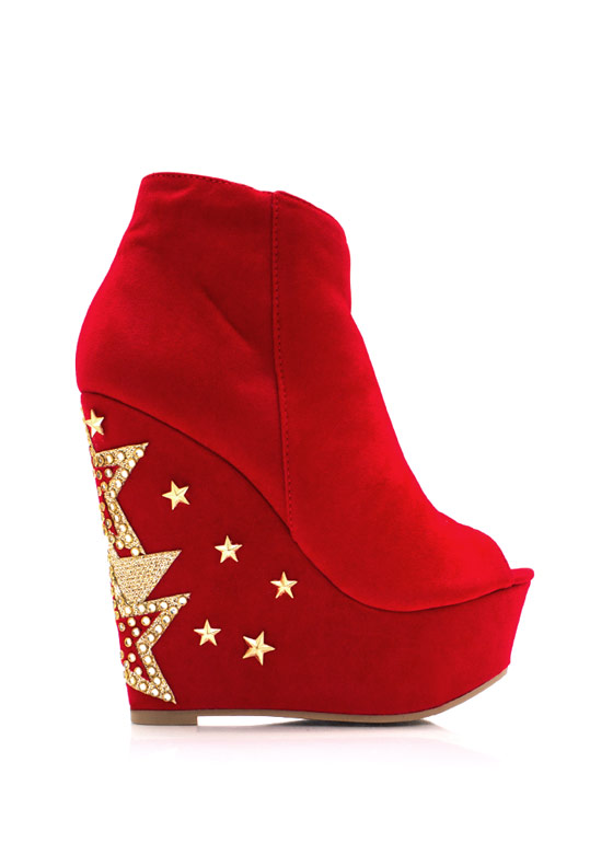 Star Power Faux Suede Booties RED