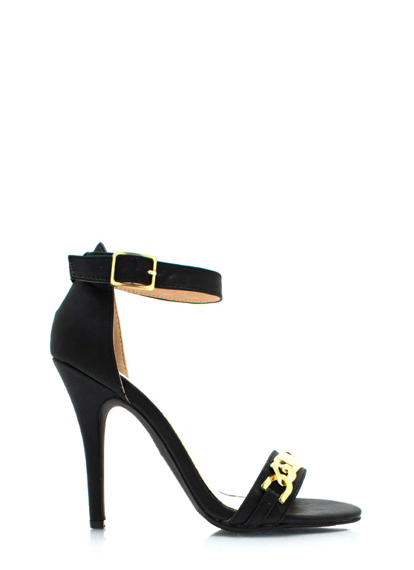 Plate To Win Ankle Strap Heels BLACK