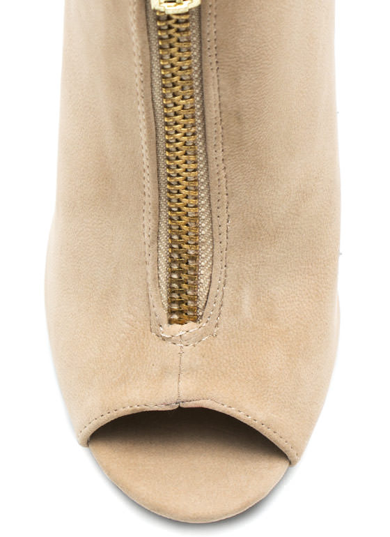 Take A Peep Zippered Booties NUDE