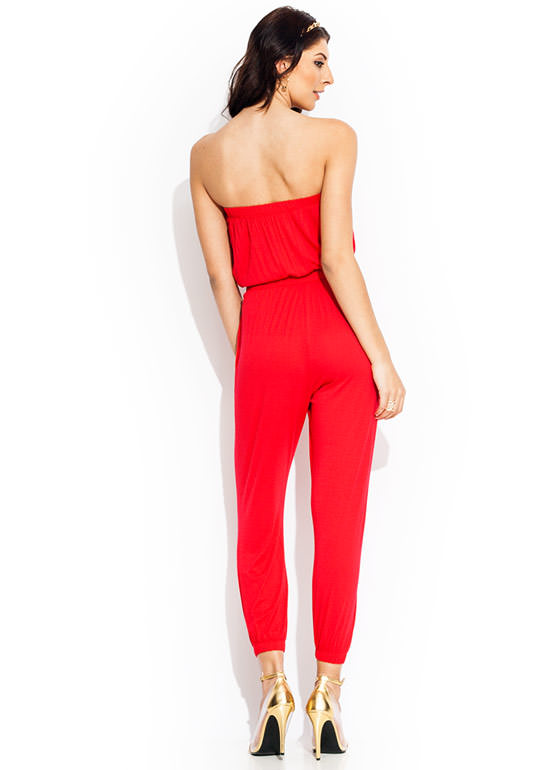 Tube Of A Kind Jumpsuit RED