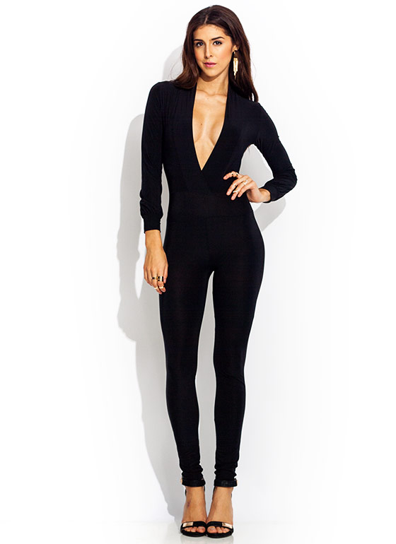 Deep Down Plunging Jumpsuit BLACK