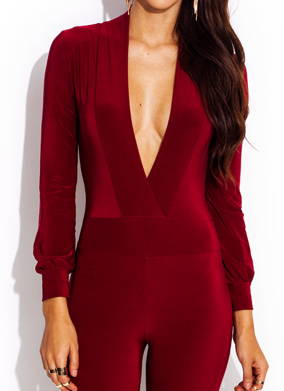 Deep Down Plunging Jumpsuit BURGUNDY