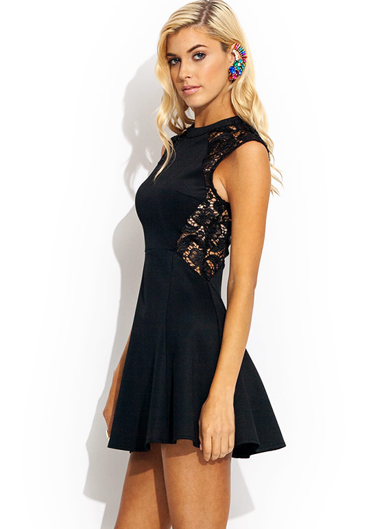 Lace But Not Least Skater Dress BLACK