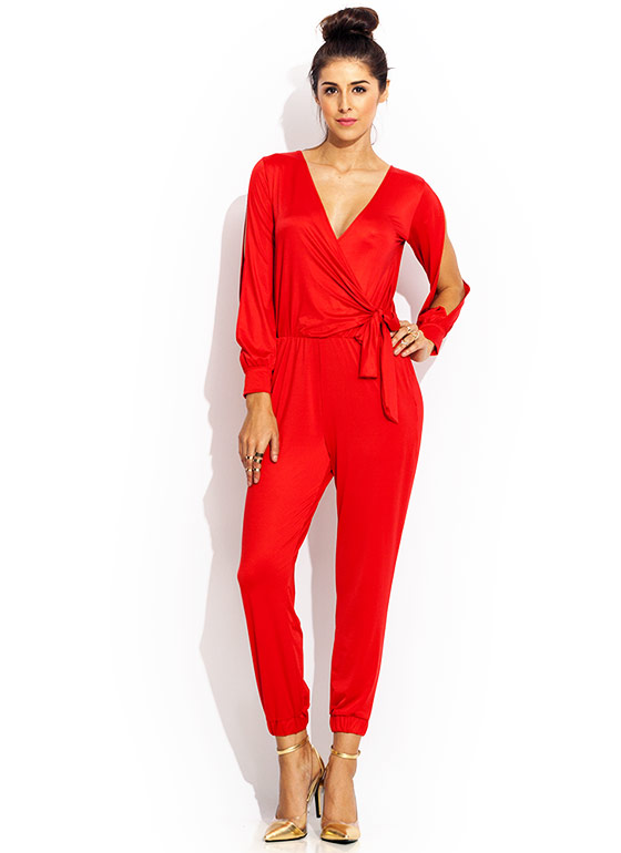 Surplice Me Jogger Jumpsuit RED