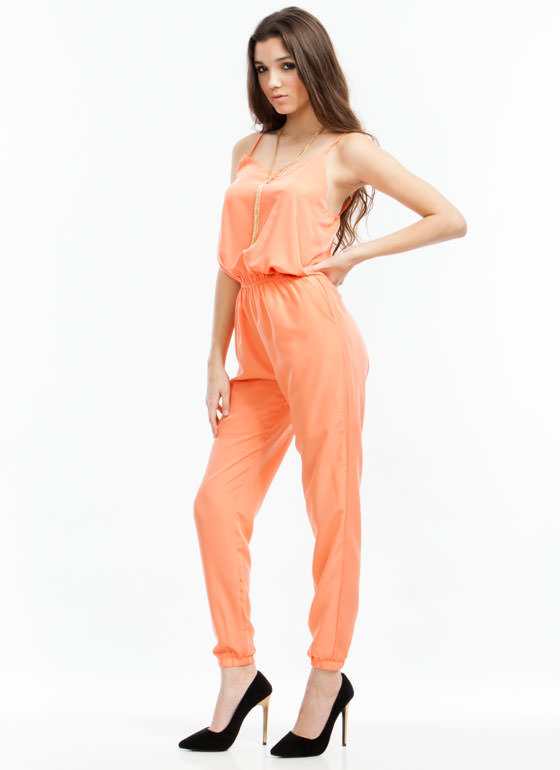Strappy Days Jogger Jumpsuit PEACH