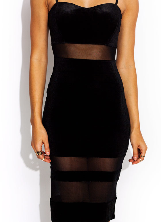 Velvet Sweetheart Mesh Inset Dress BLACK