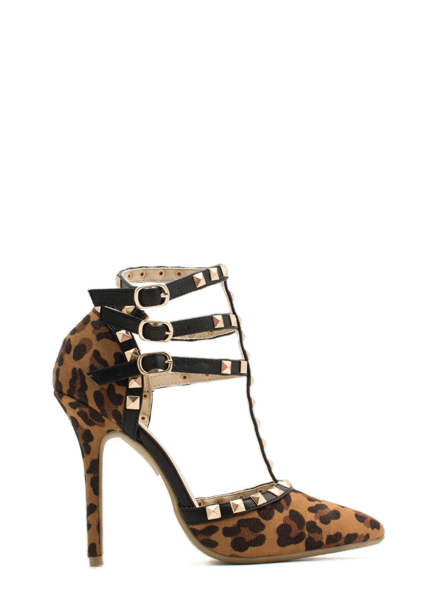Pointy Spike It Up Heels LEOPARD