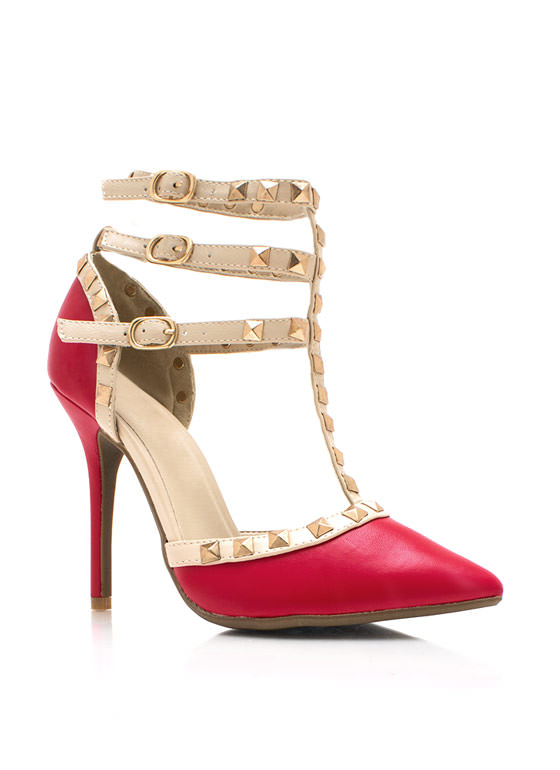 Pointy Spike It Up Heels RED