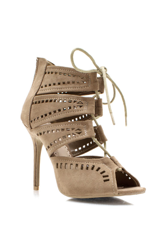 Squared Cut Out Strappy Booties TAUPE