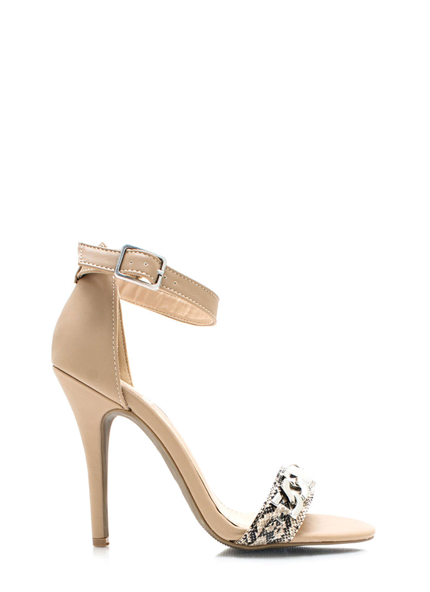 Plate To Win Snake Strap Heels NUDE