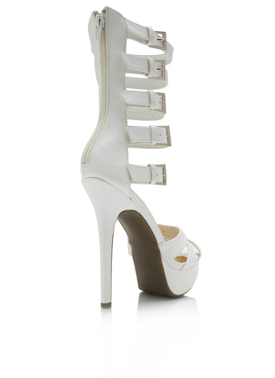 Strap It Up Gladiator Heels WHITE