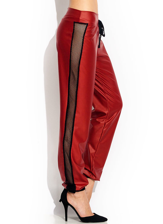 Nothing But Net Faux Leather Joggers REDBLACK