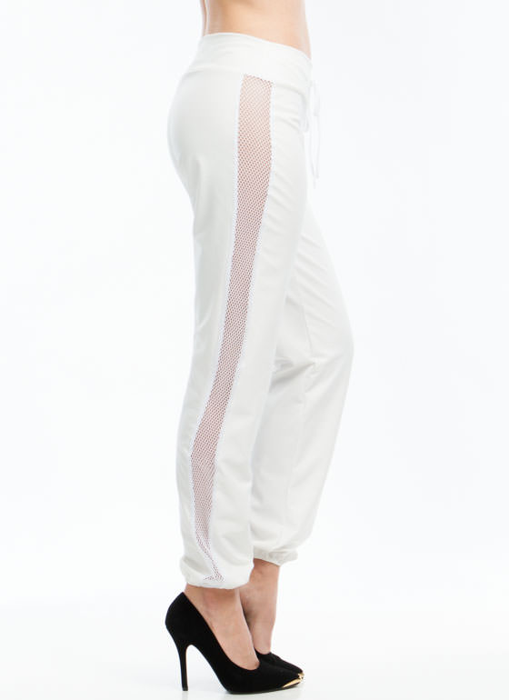 Nothing But Net Faux Leather Joggers WHITE