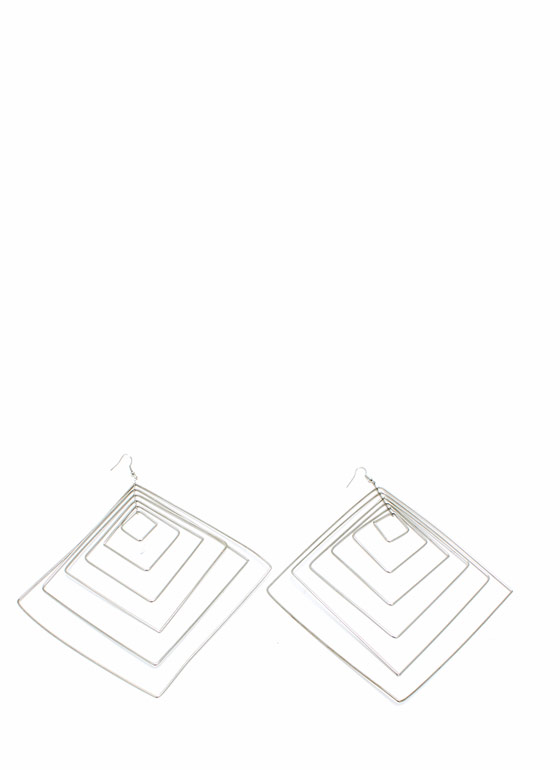 6 Squared Oversized Earrings SILVER