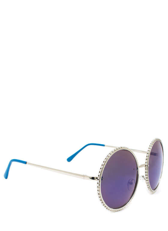 Well Rounded Rhinestone Sunglasses BLUESILVER