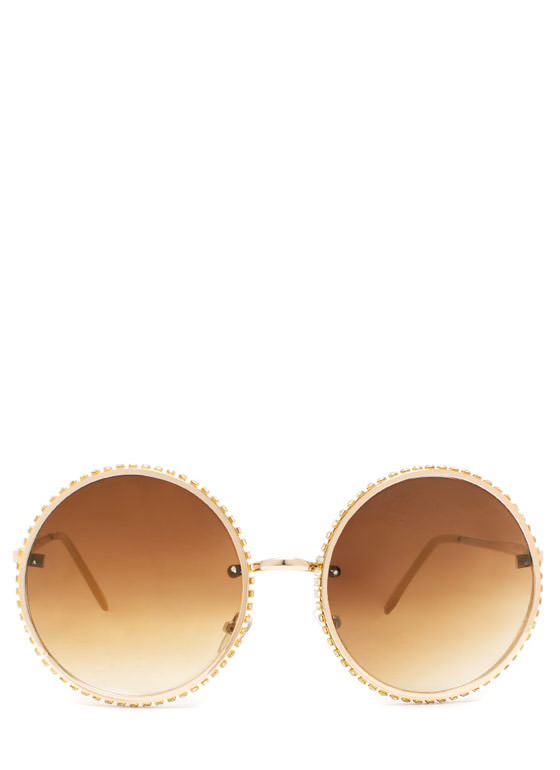 Well Rounded Rhinestone Sunglasses MUSTARDGLD