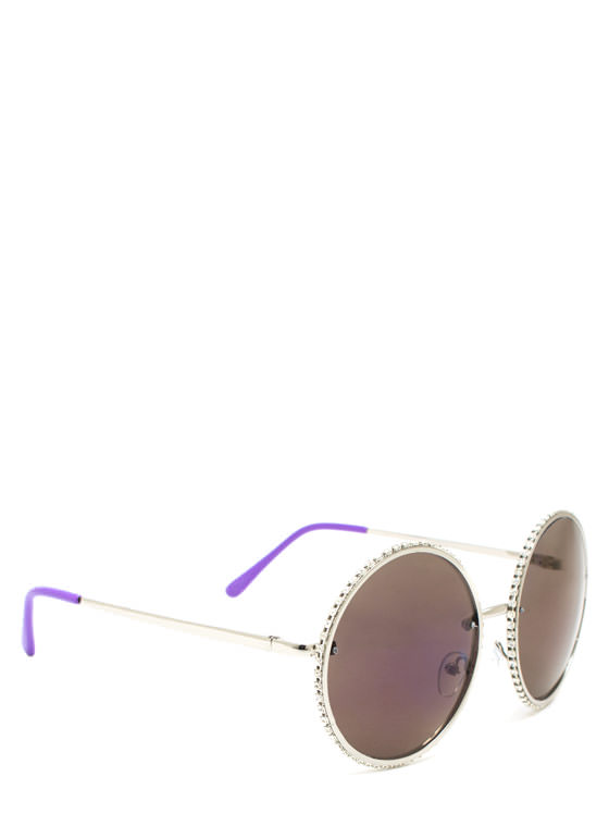 Well Rounded Rhinestone Sunglasses PURPLESLVR