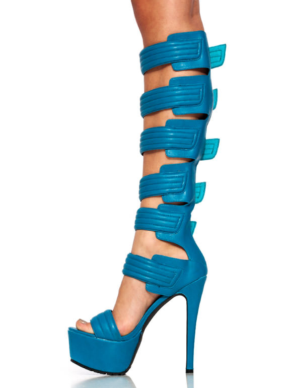 Faux Leather Moto Ranger Heels BLUE