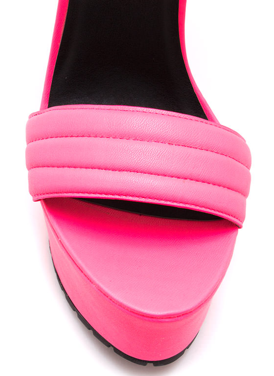 Faux Leather Moto Ranger Heels NEONPINK