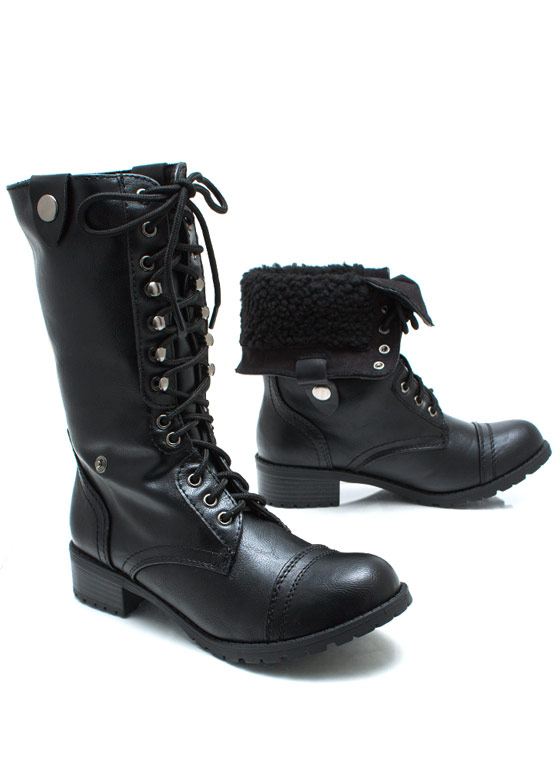 Hike Up Hike Down Laced Boots BLACK