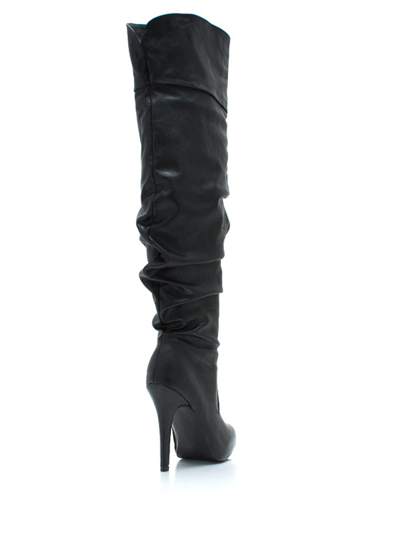 R U Slouching Faux Leather Boots BLACK