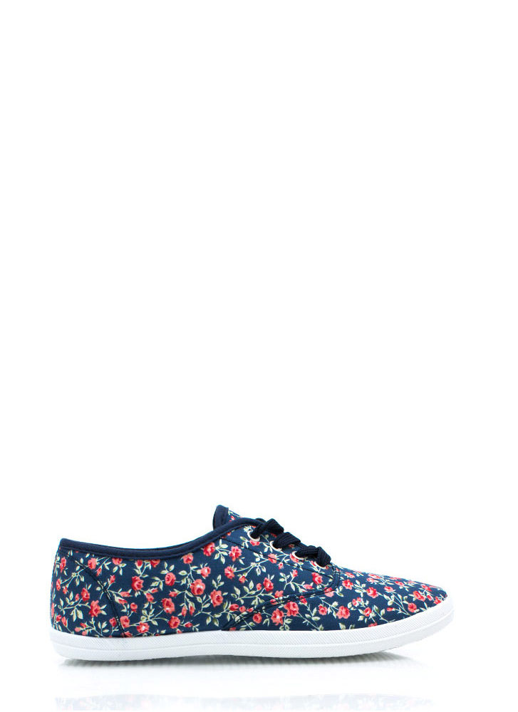 Floral Grounds Canvas Sneakers BLUE