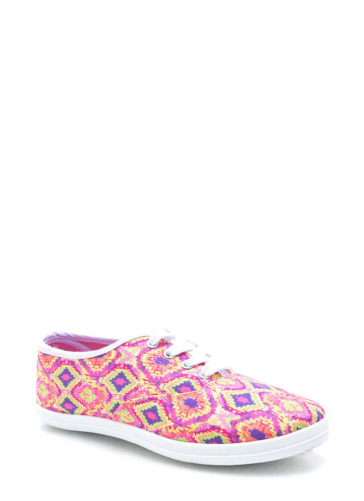 Aztechno Tribal Canvas Sneakers NEONPINK