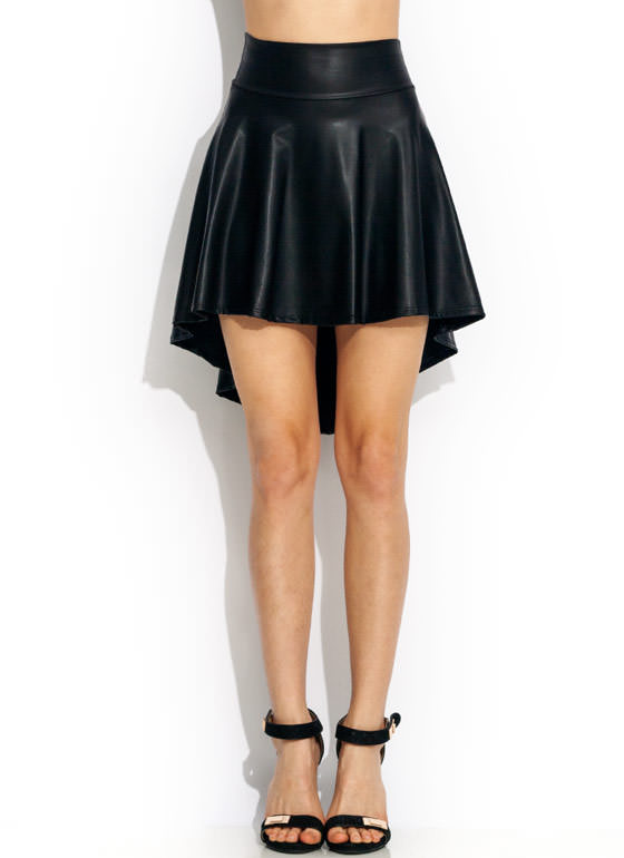 Hey Slick High Low Skirt BLACK