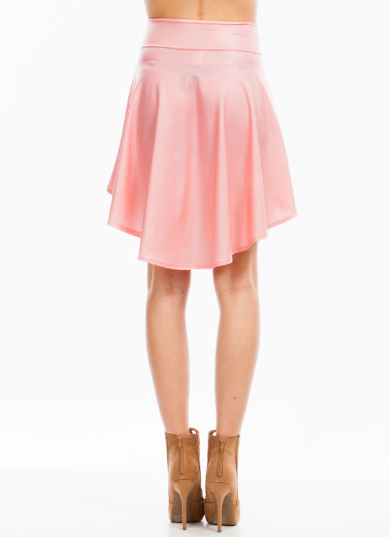 Hey Slick High Low Skirt PEACH