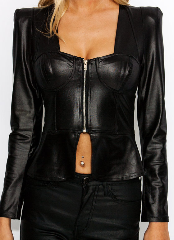 Crazy Sexy Coated Peplum Top BLACK