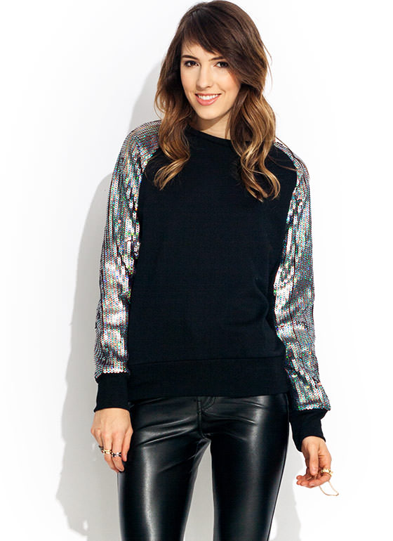 Trim Ur Scales Sequin Sweatshirt PINK (Final Sale)