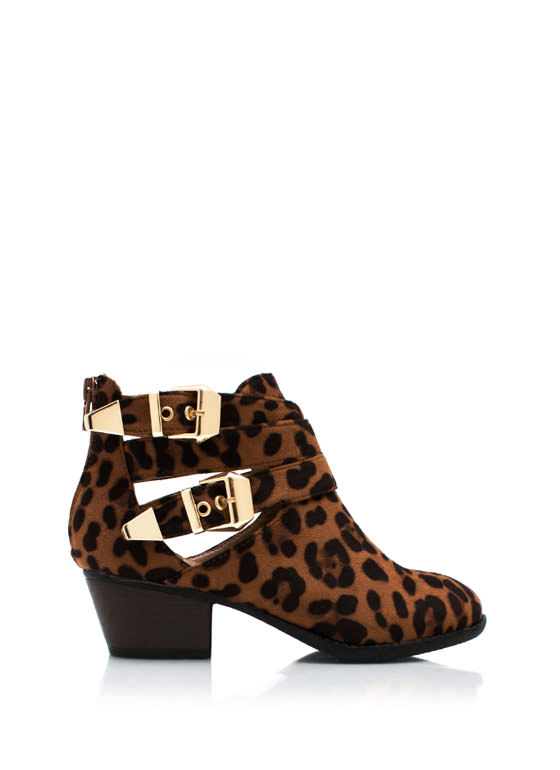 Wraparound Leopard Ankle Boots LEOPARD