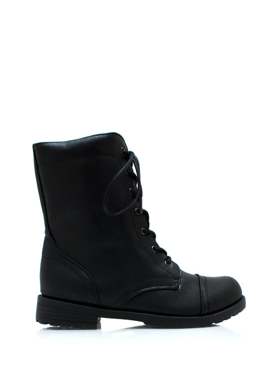 Plain Janes Lace Up Boots BLACK