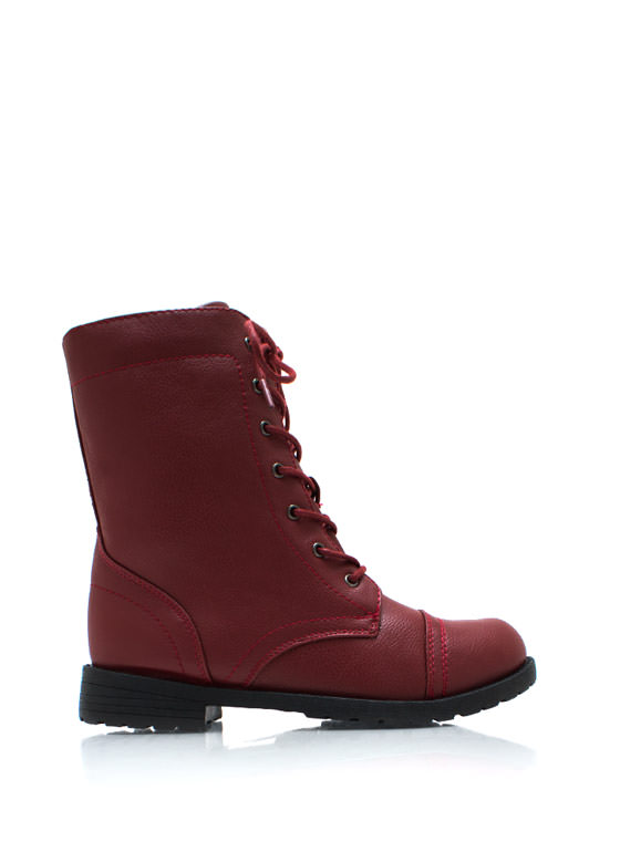 Plain Janes Lace Up Boots BURGUNDY