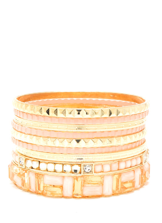 Jeweled Mosaic Bangle Set SALMONGOLD