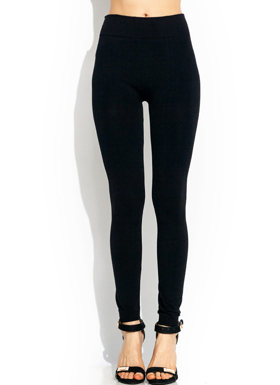 Basic Fleece Leggings BLACK