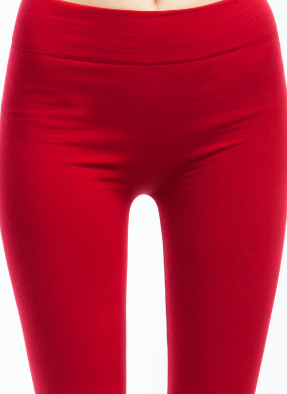 Basic Fleece Leggings DKRED