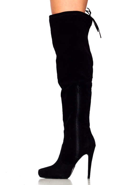 Tie It Up Over The Knee Boots BLACK