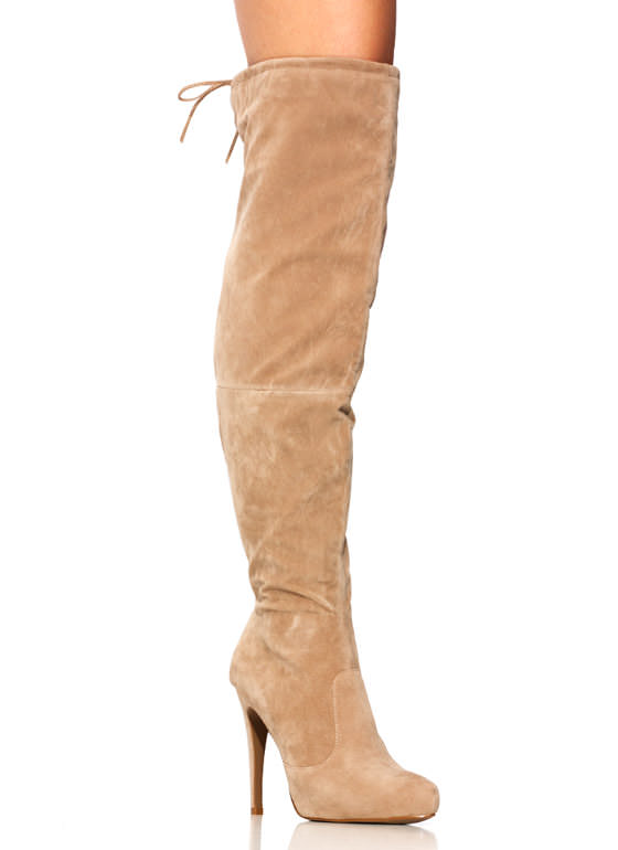 Tie It Up Over The Knee Boots TAUPE