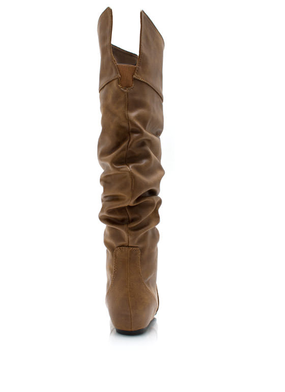 Start Slouching Faux Leather Boots TAN