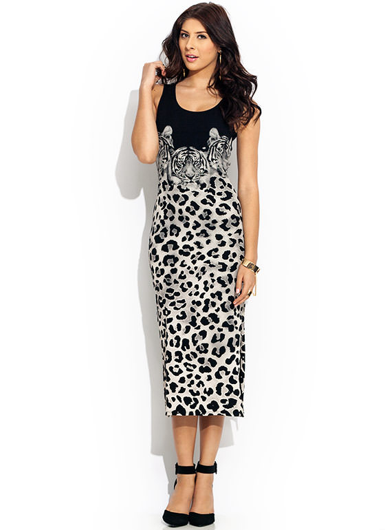 Wild Thing Midi Dress CREAMBLACK