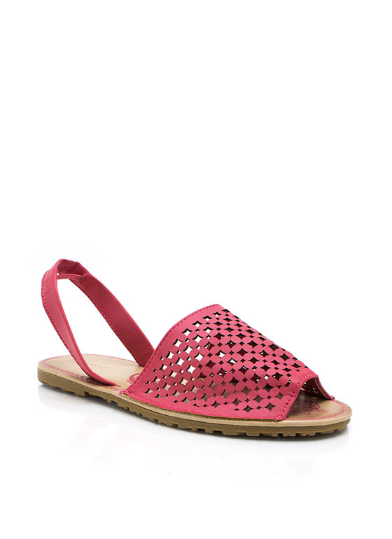 Latticed Screen Sling Back Sandals CORAL